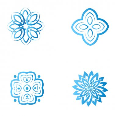 Set of four blue flower abstract logo designs.
