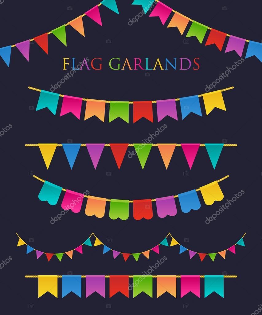 Vector Illustration of Colorful Garlands