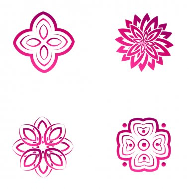 Set of four pink flower abstract logo designs.