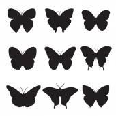Fotografie Black butterflies on white background.