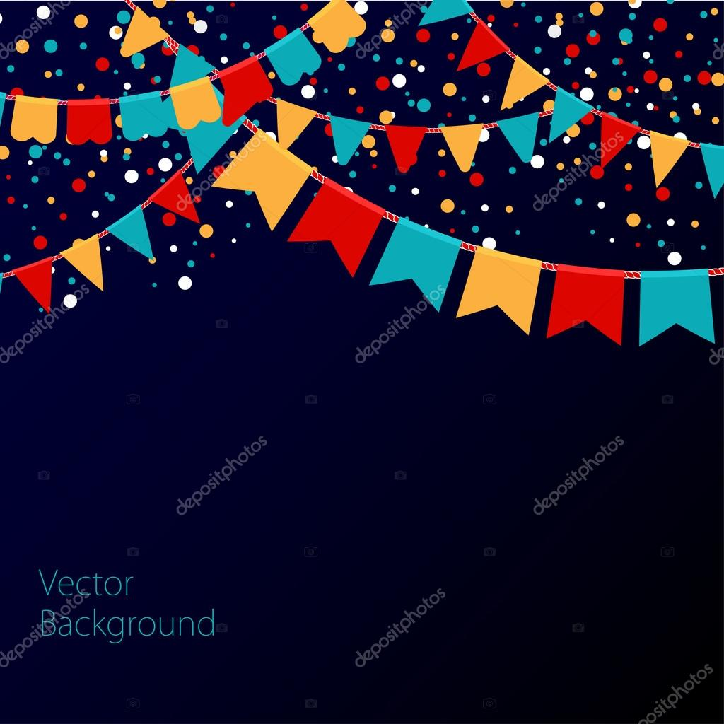 Vector illustration of night sky with colorful flags garlands. Holiday background with place for text