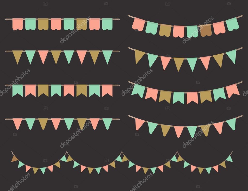 Vector Illustration of Colorful Garlands on black background.