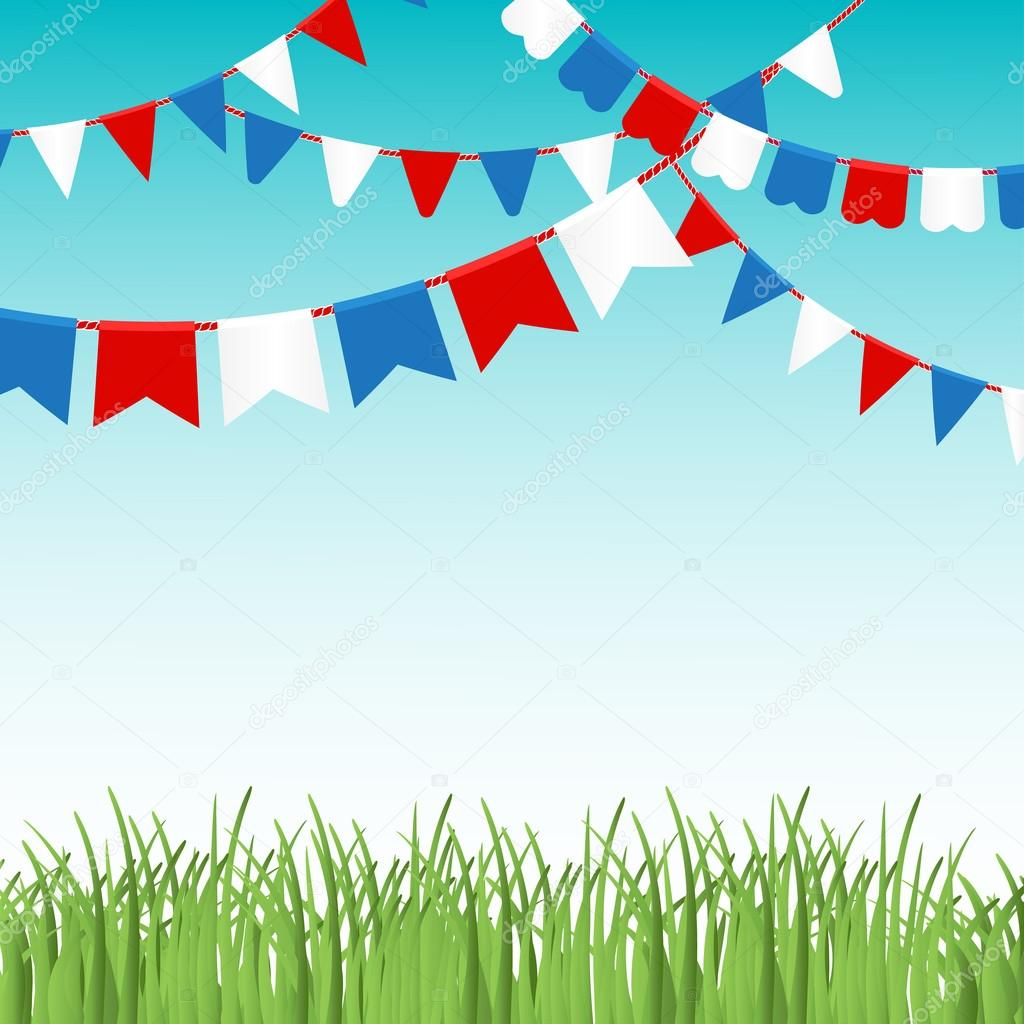 Vector illustration of Blue sky and green grass landskape  with colorful flags garlands.
