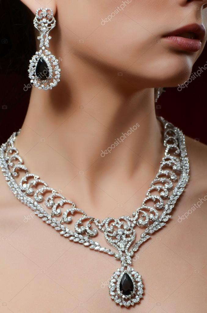 bright full diamond earrings white dress bride bridal silk set wedding yarn pendant necklace product expensive s shipping
