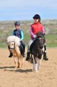 Junge und Mädchen reiten auf einem Pony