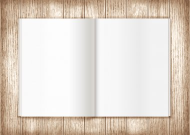 Blank magazine on wooden background. Template