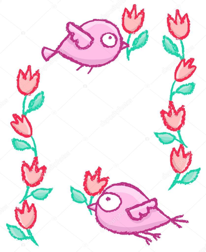 Niedliche kleine Vögel-Rahmen — Stockvektor © de-kay #109948372