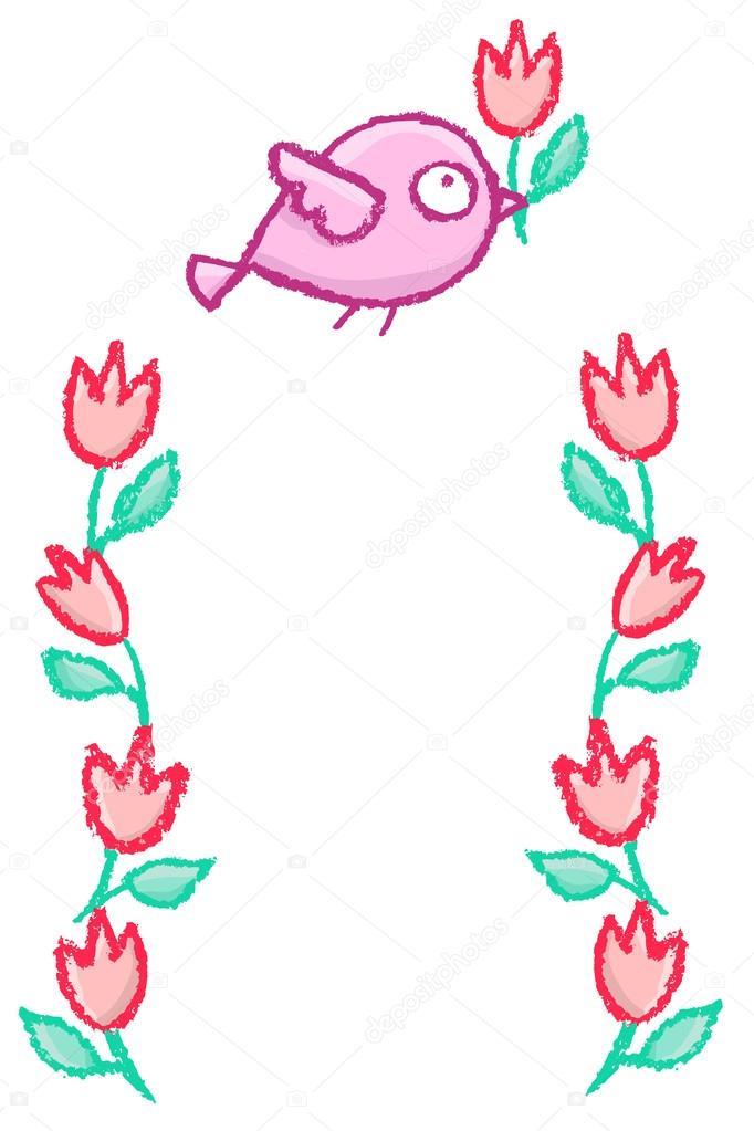 Lindo marco de aves poco — Vector de stock © de-kay #115725502