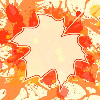 Maple leaf over paint background
