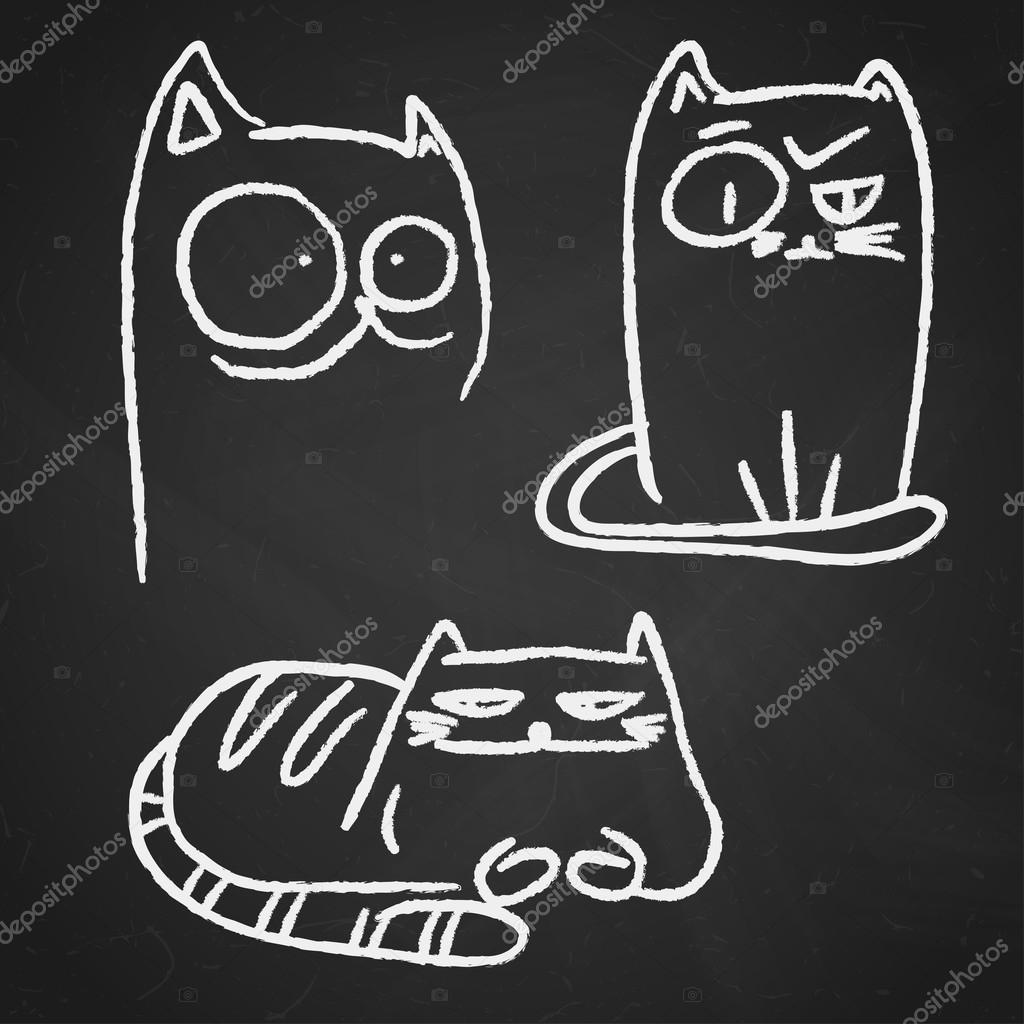 Рисунки животных на доске мелом