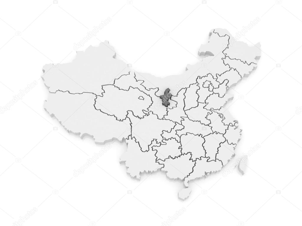 Ningxia China Map.Map Of Ningxia Hui Autonomous Region China Stock Photo