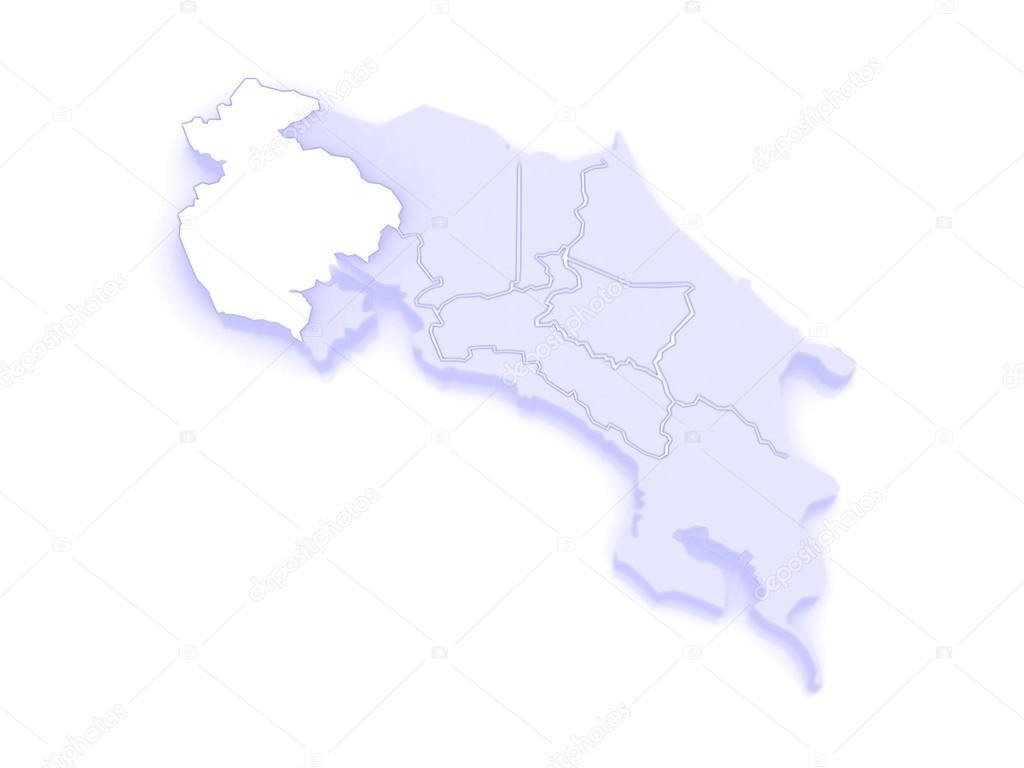 Map of Guanacaste. Costa Rica. — Stock Photo © Tatiana53 ...