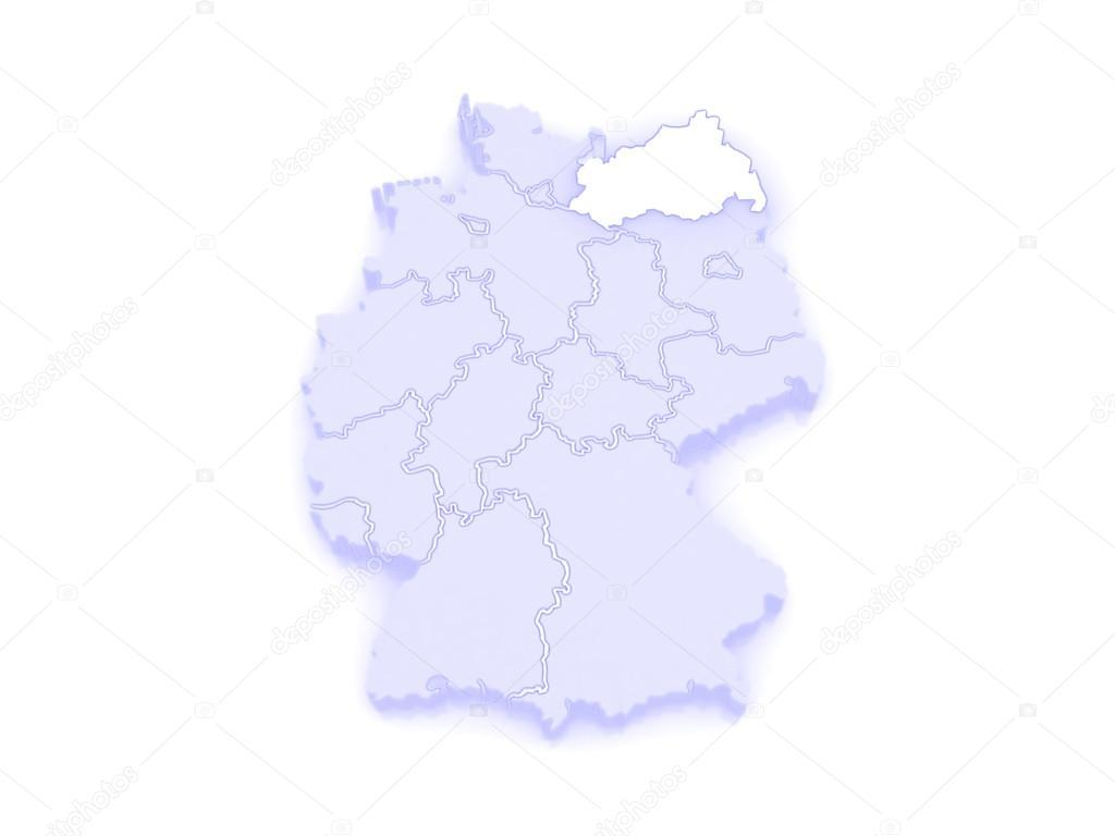 Map Of Mecklenburg Western Pomerania Germany Stock Photo
