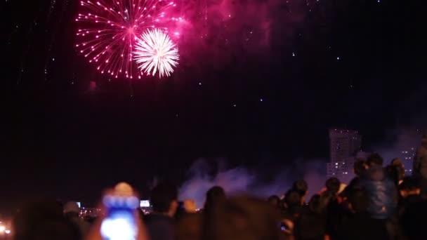 Čeljabinsk, Rusko - 10. září 2016: Nádherný ohňostroj na počest den města