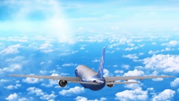 Verkehrsflugzeug fliegt in großer Höhe über den Wolken.