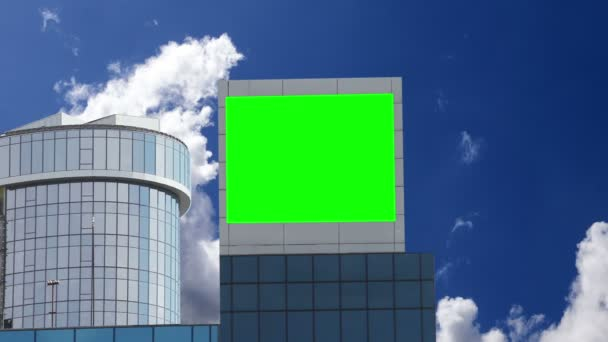 Advertising on the building, green screen.