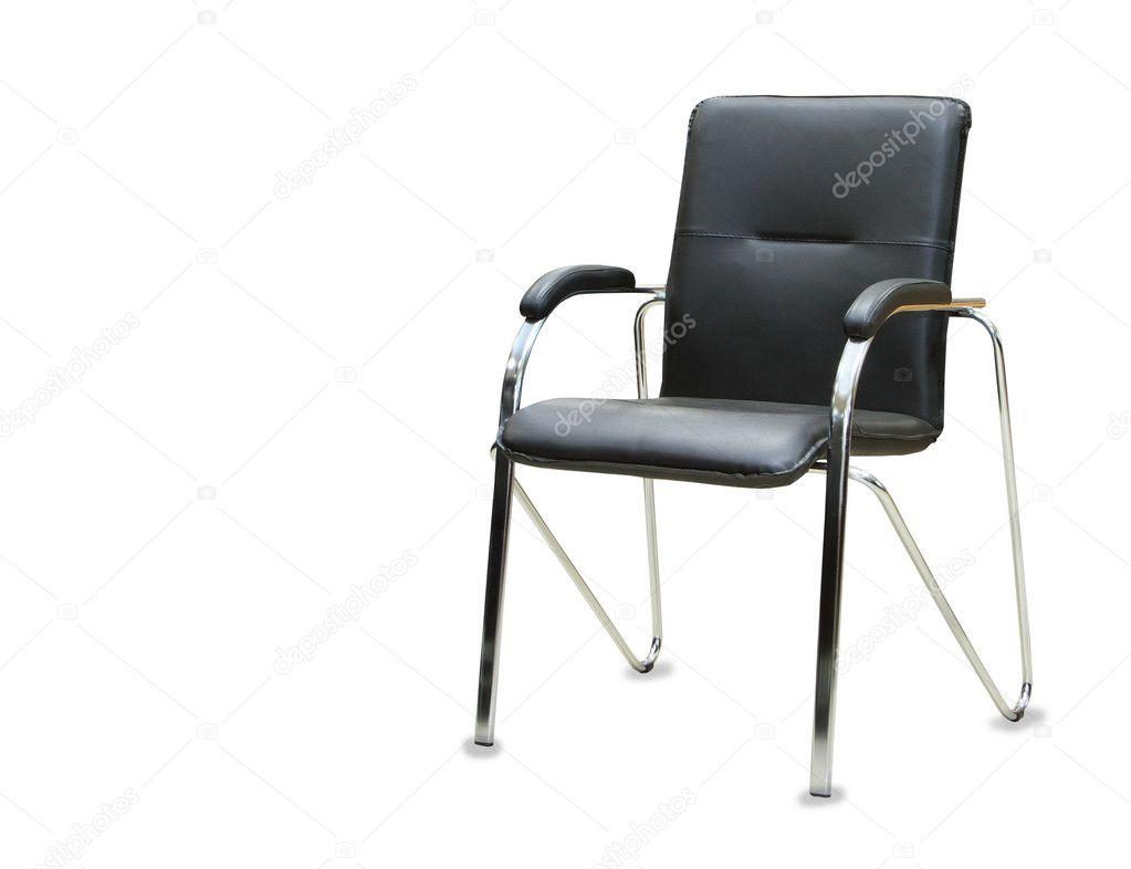 De stoel van het bureau van zwart leer geïsoleerd u stockfoto