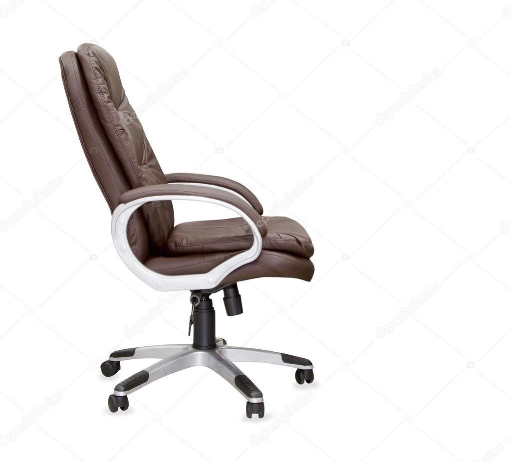 Sedie Da Ufficio Marrone.Vista Di Profilo Di Sedia Da Ufficio In Pelle Marrone Isolato