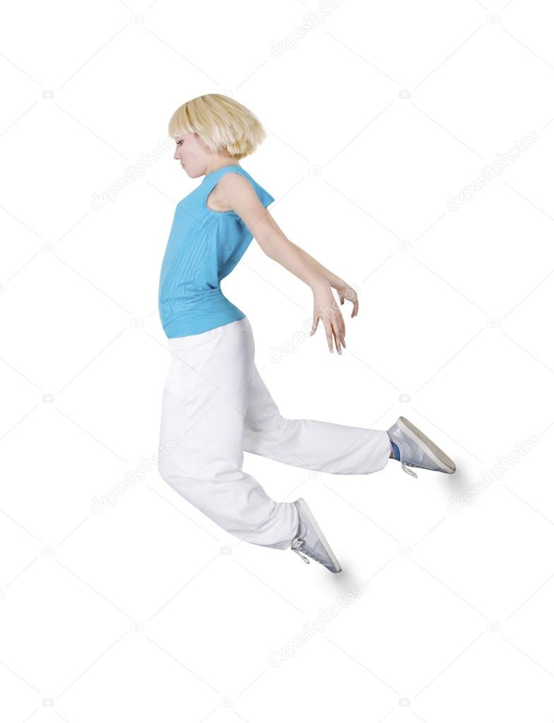 Teenage Girl Dancing Hip Hop Over White Background Stock Photo