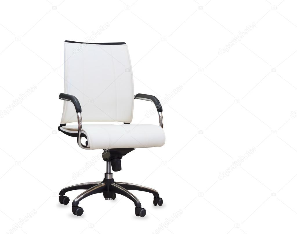 Sedia da ufficio moderna dalla pelle bianca isolato u foto stock