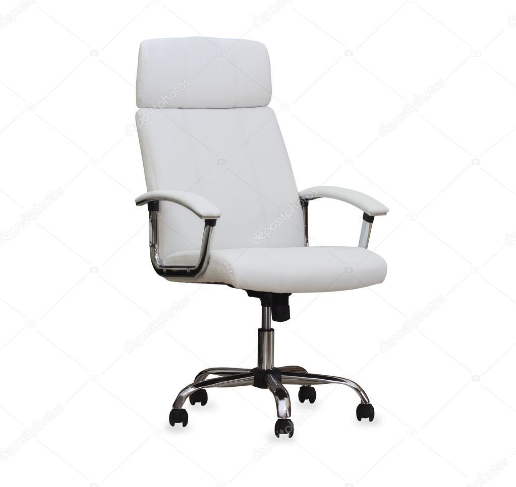 sedia da ufficio moderna dalla pelle bianca. isolato — Foto Stock ...