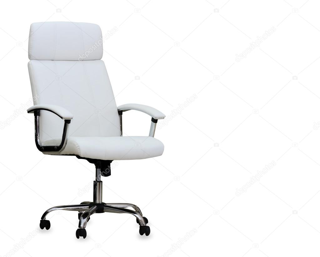 Wonderbaar Moderne bureaustoel van wit leer. geïsoleerd — Stockfoto EI-91