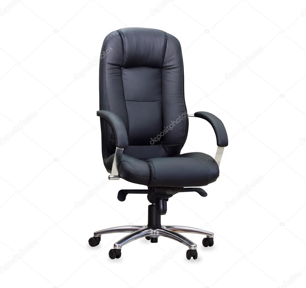 la sedia da ufficio in pelle nera. isolato — Foto Stock © Kurganov ...