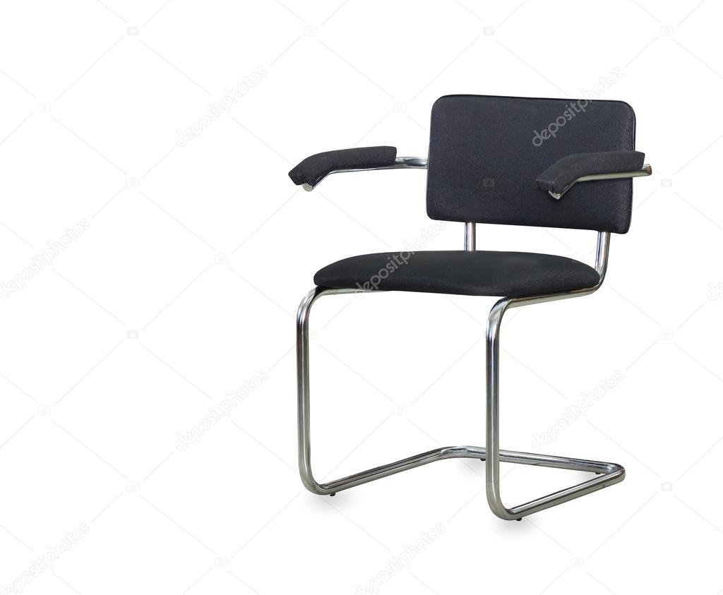 La chaise de bureau tissu noir isolée u photographie kurganov