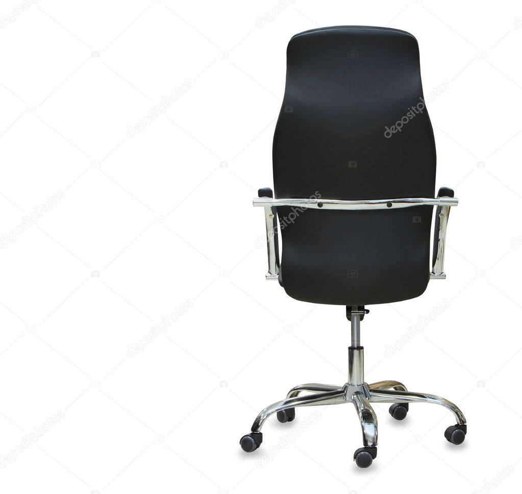 Moderner Burostuhl Aus Schwarzem Leder Isoliert Stockfoto