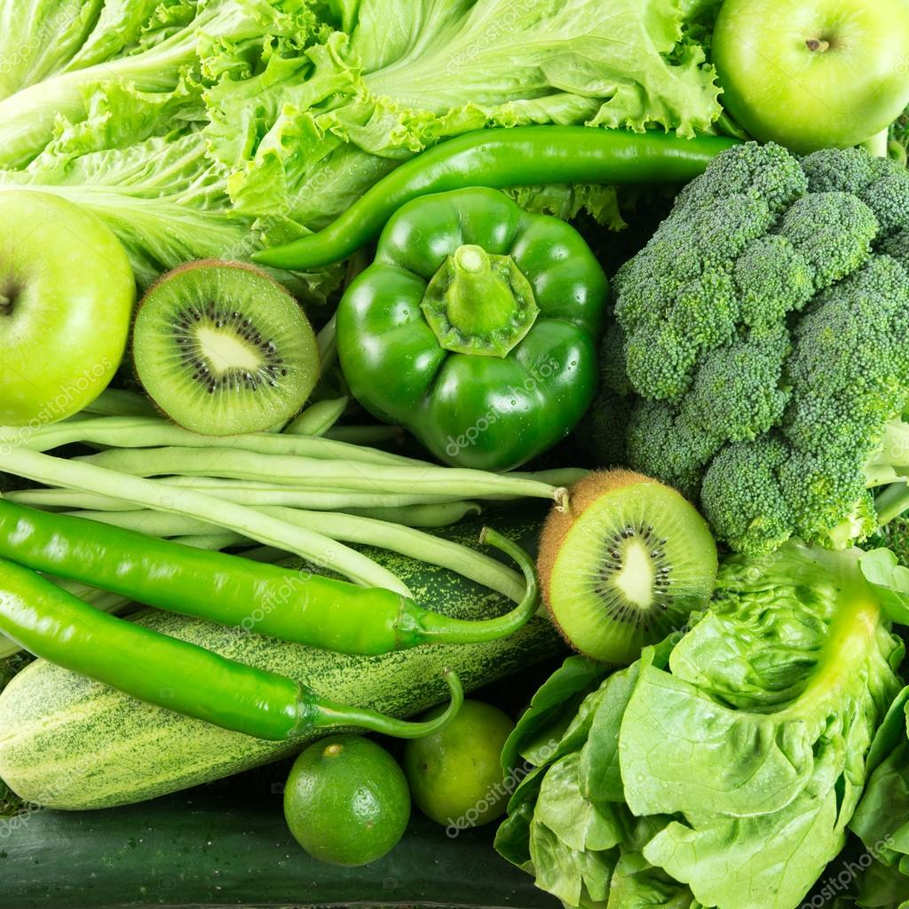 Green vegetables and fruit