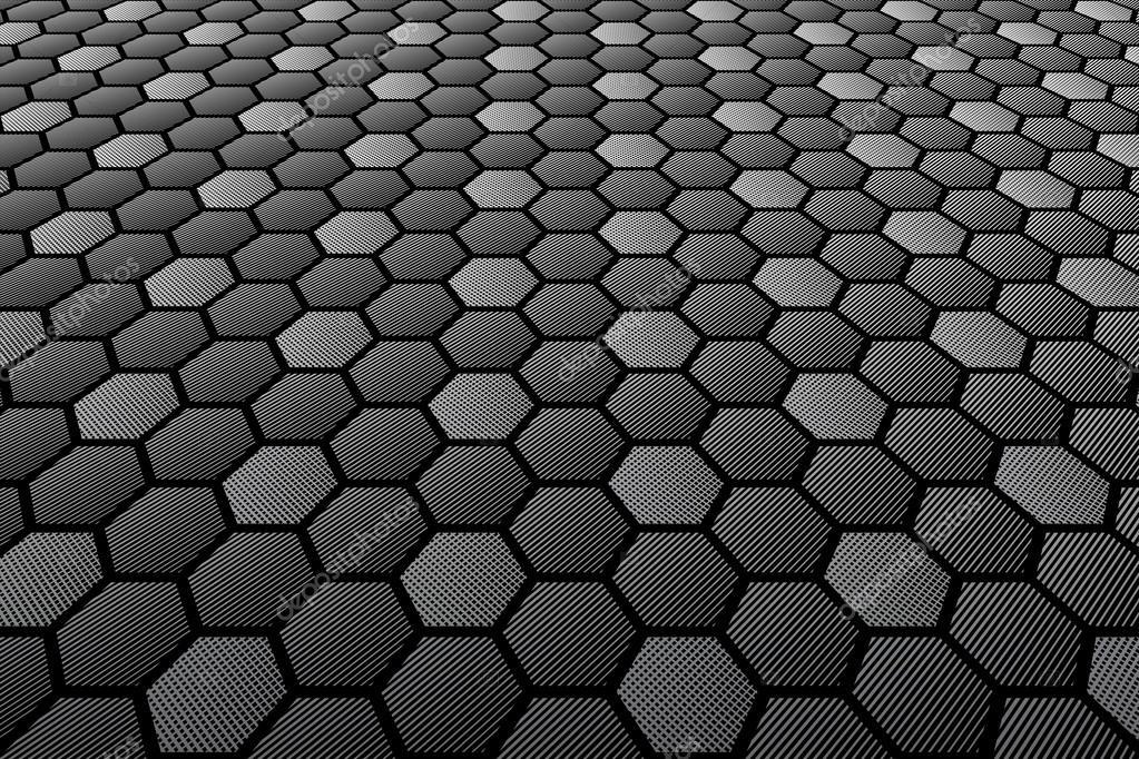 Esagoni in piastrelle superficie strutturata. vista prospettica