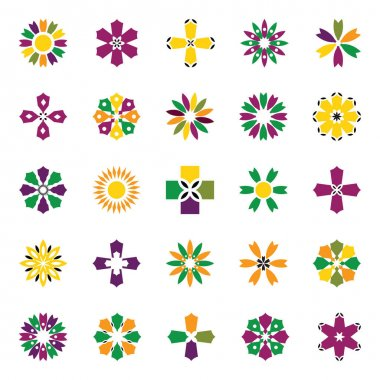 Flower and cross shape icons. Design elements set. Vector art. icon