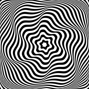 Illusion of wavy rotation movement. Abstract op art illustration