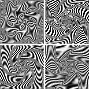 Optical illusion of torsion twisting movement. Set.
