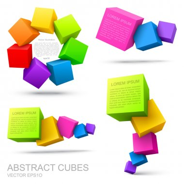 Set of colorful cubes 3D