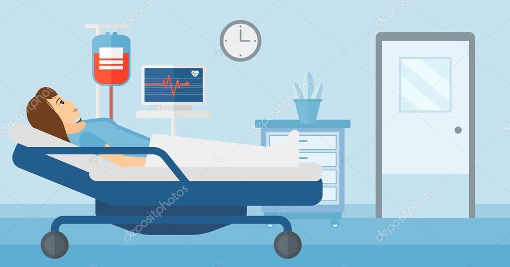 Woman In Hospital Bed Cartoon
