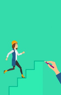 Woman running upstairs.