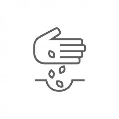 Hand planting seeds in ground line icon.