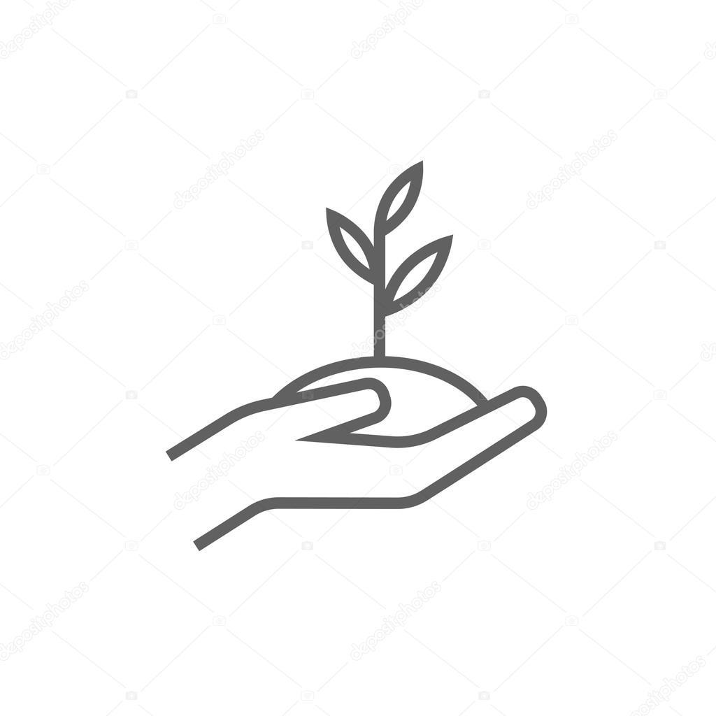 Hände halten Sämling im Boden Symbol — Stockvektor © rastudio #103389798