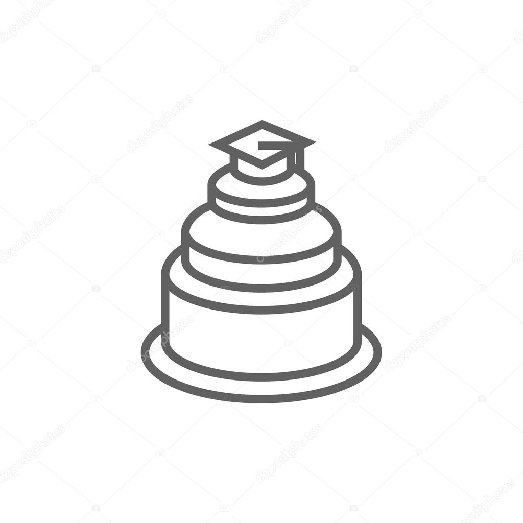 757dcba8ed6 Graduation cap on top of cake line icon. — Stock Vector © rastudio ...