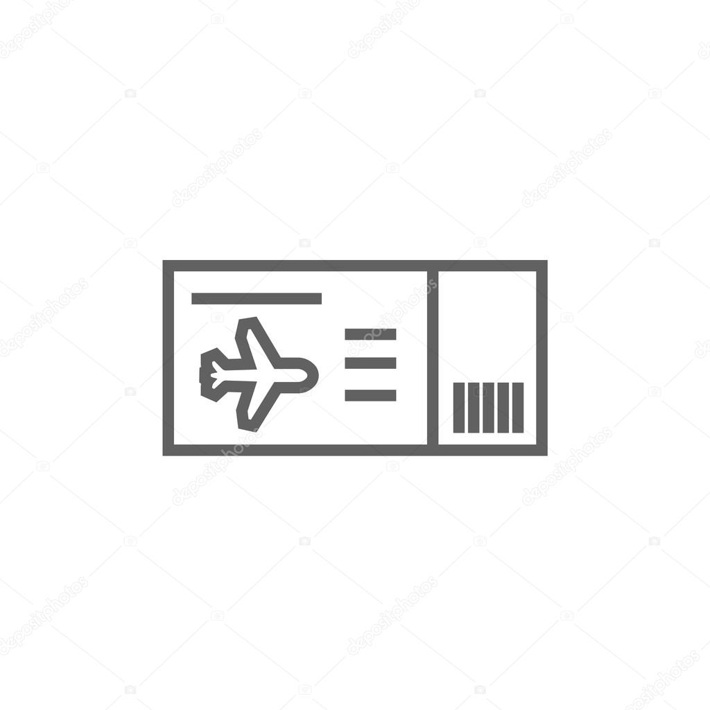 Flight Ticket Line Icon Stock Vector