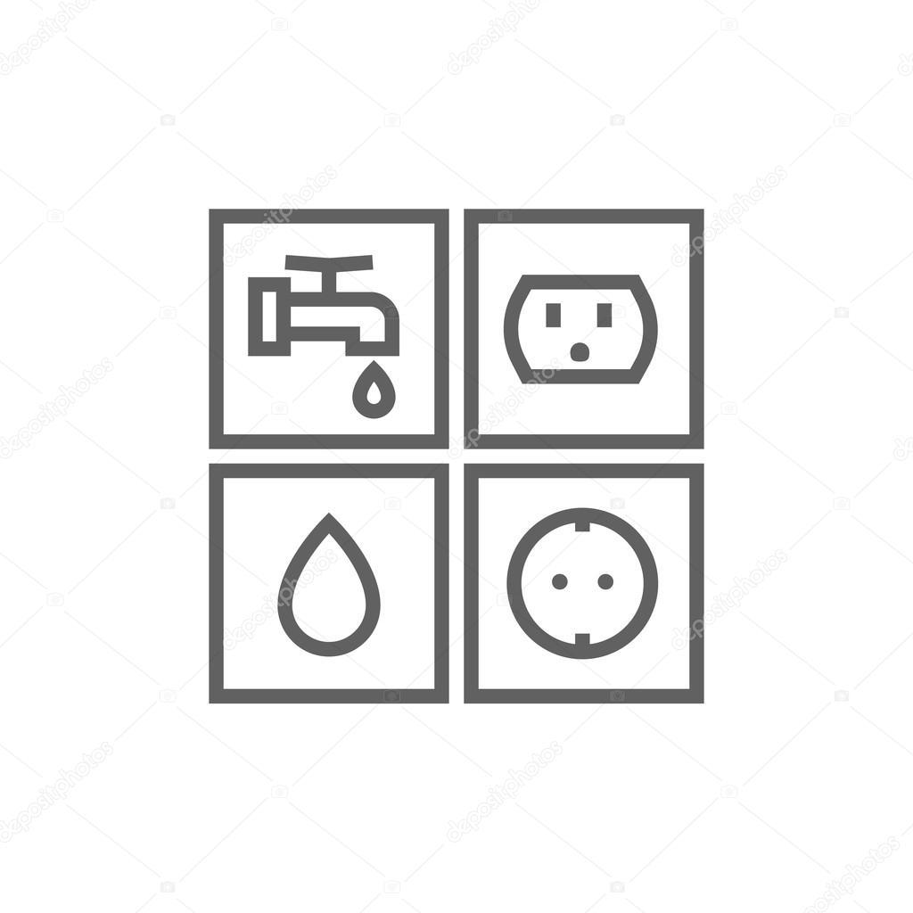 Strom und Wasser-Linie Symbol Zeichen Utilities — Stockvektor ...