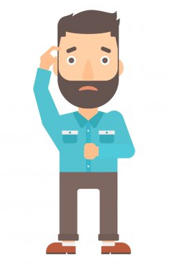 A hipster man with the beard scratching his temple with finger vector flat design illustration isolated on white background. Vertical layout. stock vector