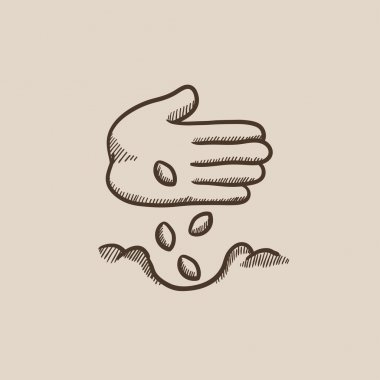 Hand planting seeds in ground sketch icon.
