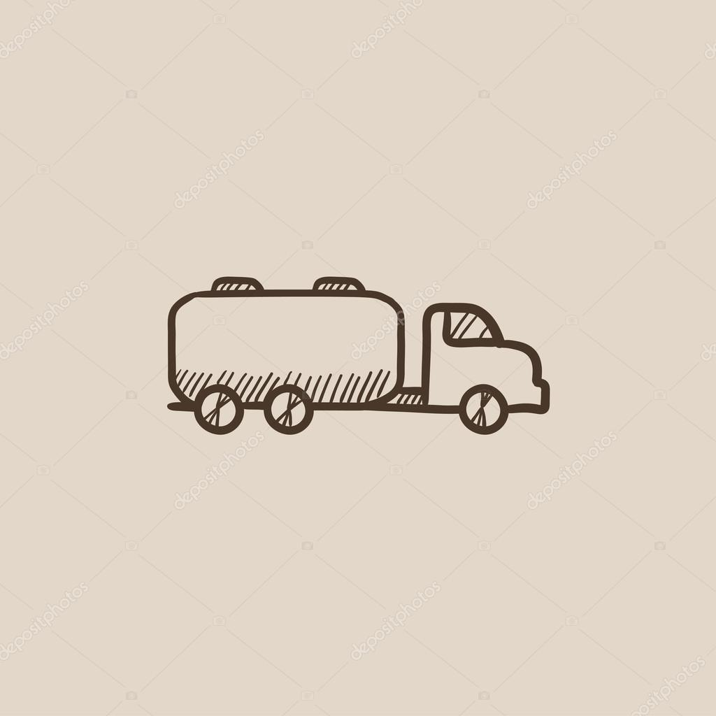 Truck liquid cargo sketch icon.