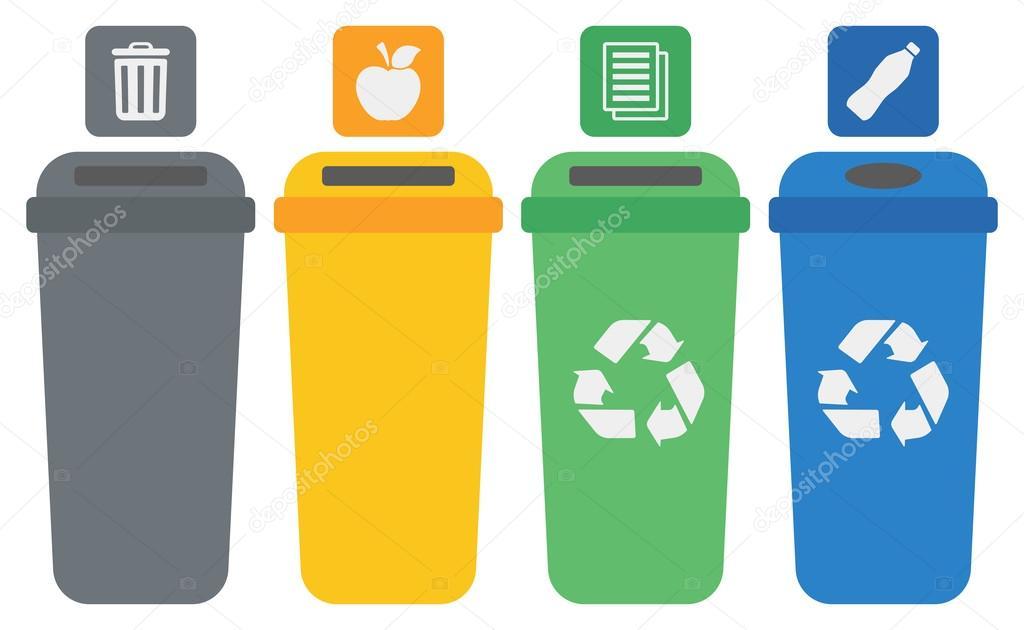 Cuatro contenedores de reciclaje color vector de stock - Contenedores de reciclar ...
