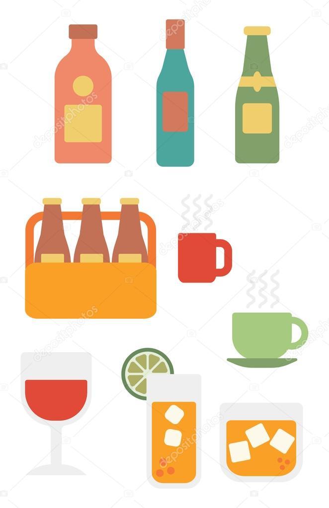 Verschiedene Gläser und Flaschen Alkohol und Tassen warme Getränke ...