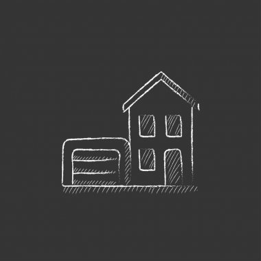 House with garage. Drawn in chalk icon.
