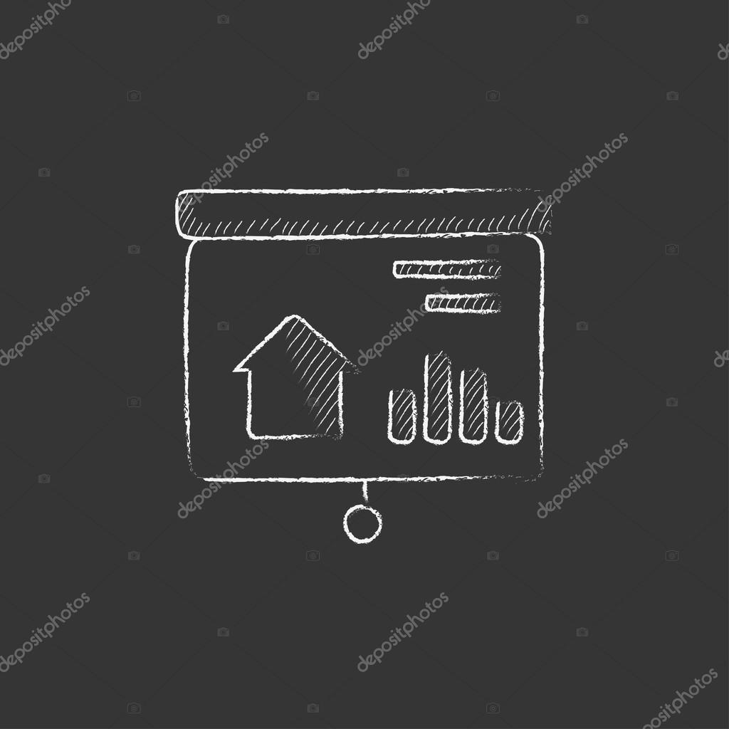 Presentation on projector screen. Drawn in chalk icon. — Stock ...