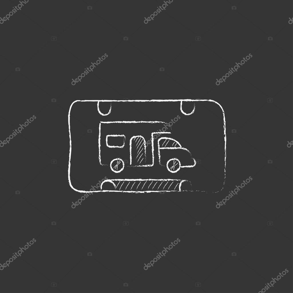 RV Camping Sign Drawn In Chalk Icon Stock Vector